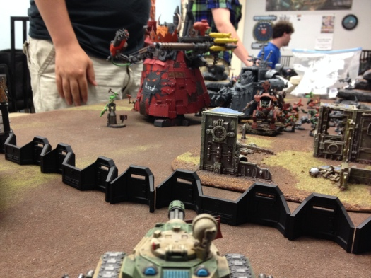 Pasks' Fusillade is refused by the Morkanaut's Force Field.