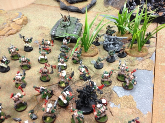 Wishart orders his Chimera crew forwards, to commit the Orkz to the flame.  The Sentries contribute also, completely wrecking the unit leaving around 8 orkz still standing.  The Weirdboy is brought down with a Lascannon.