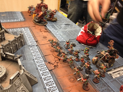 Xenos take the field, Trukks against the Sentinels, Morkanaut and Mek Guns against the Leman Russes, Stormboyz up the middle.